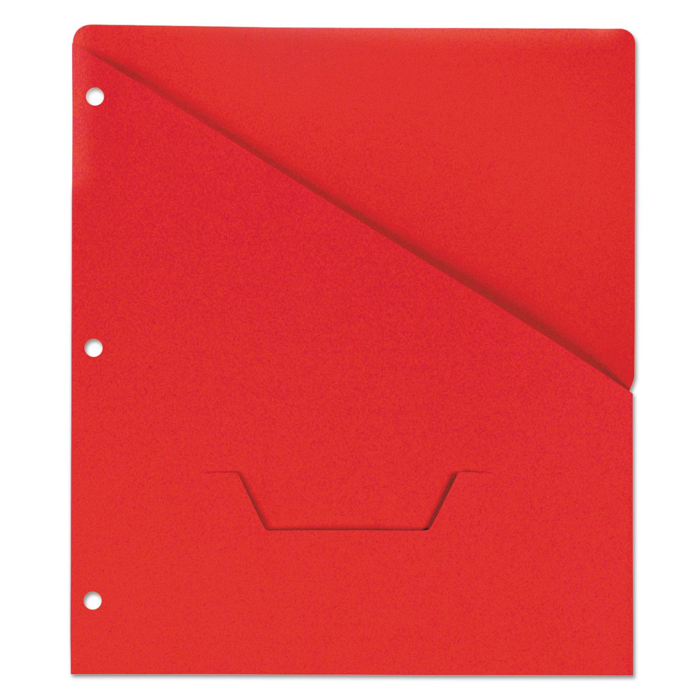 Slash-Cut Pockets for Three-Ring Binders, Jacket, Letter, 11 Pt., Red, 10/Pack