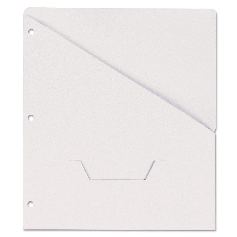 Slash-Cut Pockets for Three-Ring Binders, Jacket, Letter, 11 Pt., White, 10/Pack
