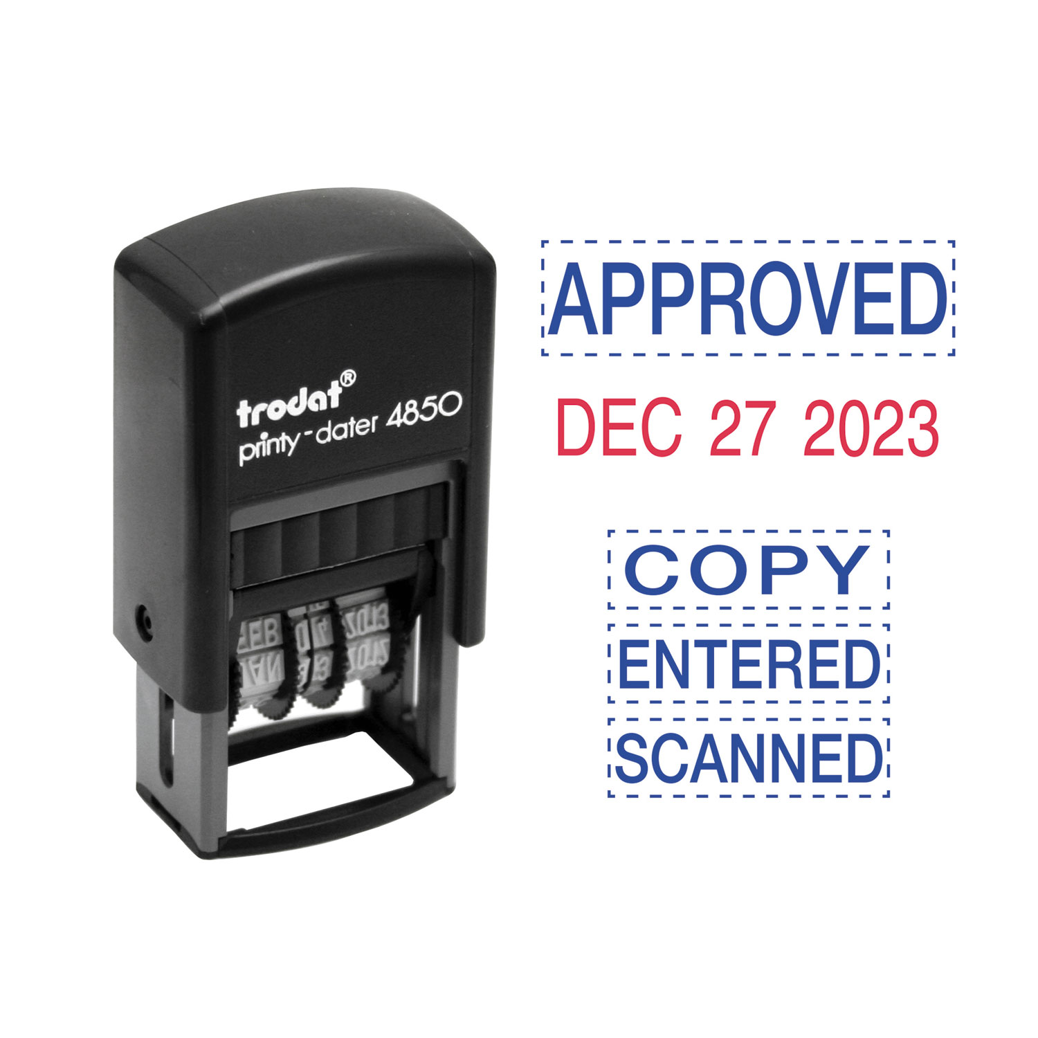 Economy 5-in-1 Micro Date Stamp, Self-Inking, 0.75 x 1, Blue/Red