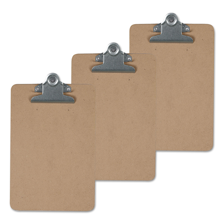 "Hardboard Clipboard, 1"" Capacity, Holds 8 1/2 x 14, Brown, 3/Pk"
