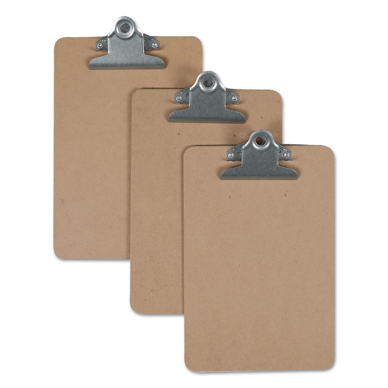 "Hardboard Clipboard, 3/4"" Capacity, 5 x 8 Sheets, Brown, 3/Pack"