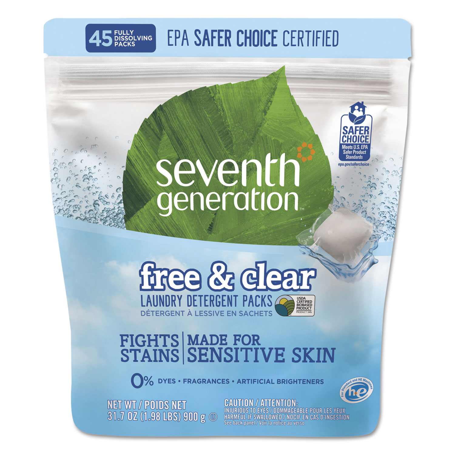 Natural Laundry Detergent Packs, Powder, Unscented, 45 Packets/Pack, 8/Carton