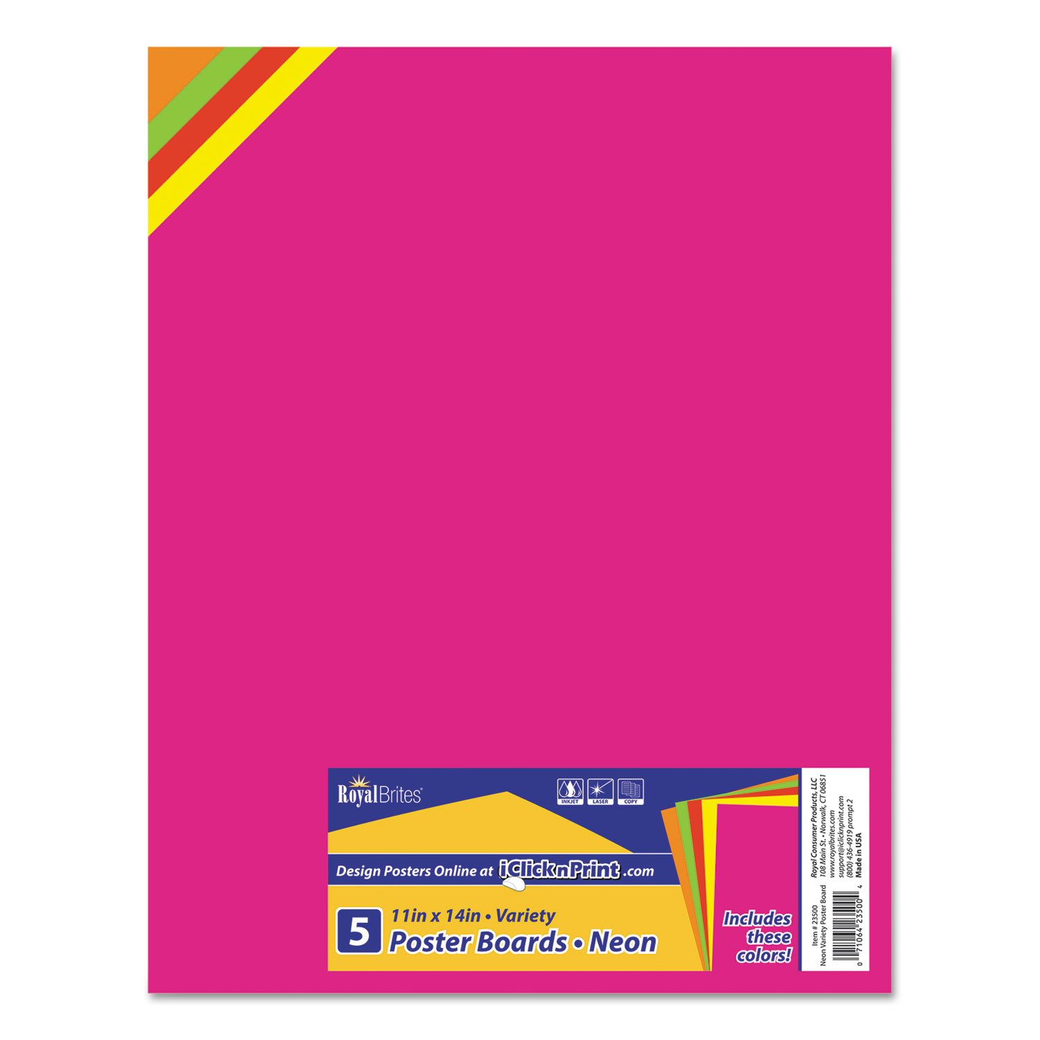 Premium Coated Poster Board, 11 x 14, Assorted, 5/Pack