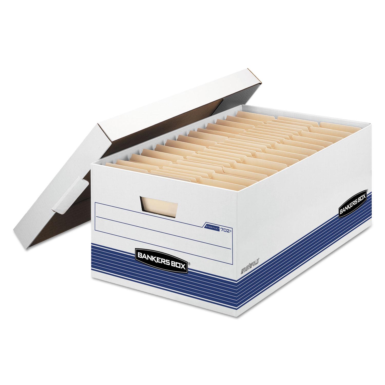 "STOR/FILE Medium-Duty Storage Boxes, Legal Files, 15.88"" x 25.38"" x 10.25"", White/Blue, 12/Carton"