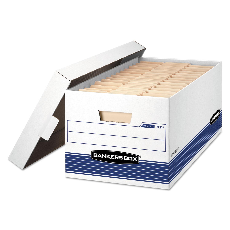 "STOR/FILE Medium-Duty Storage Boxes, Letter Files, 12.88"" x 25.38"" x 10.25"", White/Blue, 12/Carton"