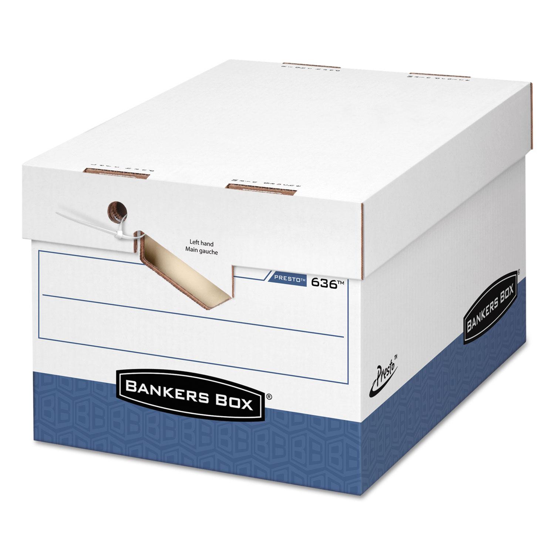 "PRESTO Ergonomic Design Storage Boxes, Letter/Legal Files, 12.88"" x 16.5"" x 10.38"", White/Blue, 12/Carton"