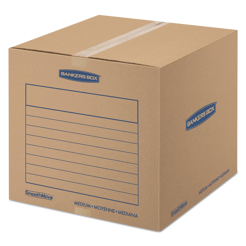 "SmoothMove Basic Moving Boxes, Medium, Regular Slotted Container (RSC), 18"" x 18"" x 16"", Brown Kraft/Blue, 20/Bundle"
