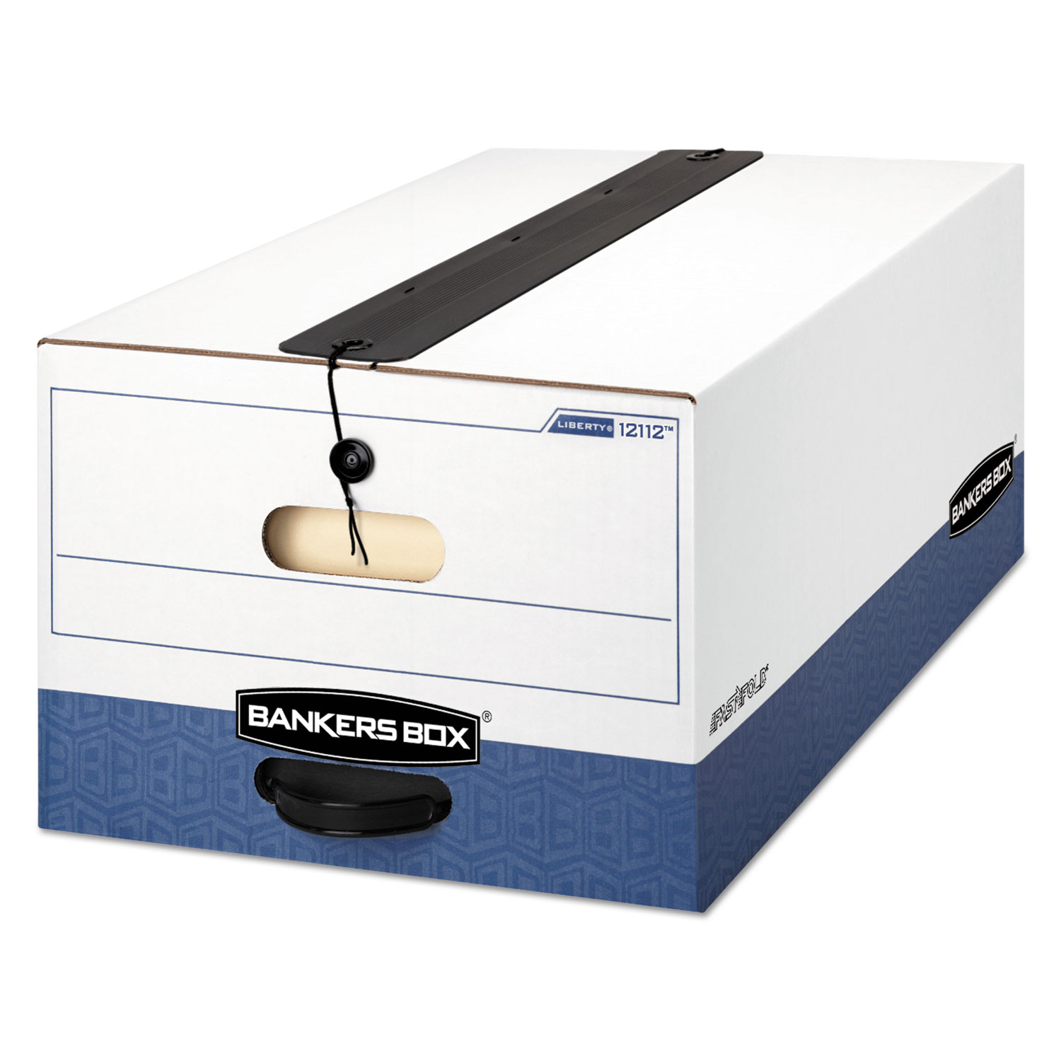 "LIBERTY Plus Heavy-Duty Strength Storage Boxes, Legal Files, 15.25"" x 24.13"" x 10.75"", White/Blue, 12/Carton"