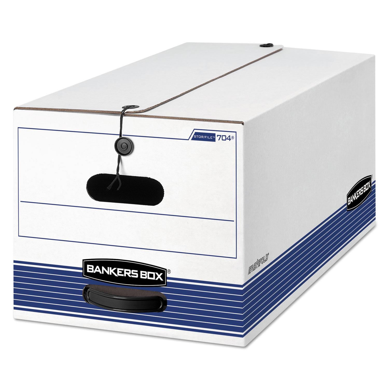 "STOR/FILE Medium-Duty Strength Storage Boxes, Letter Files, 12.25"" x 24.13"" x 10.75"", White/Blue, 12/Carton"