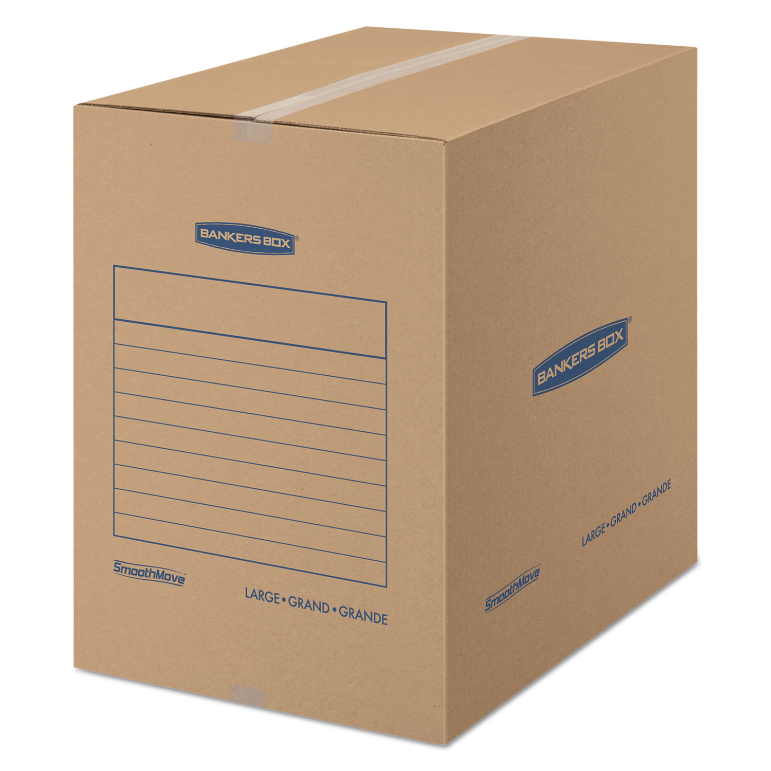 """SmoothMove Basic Moving Boxes, Large, Regular Slotted Container (RSC), 18"""" x 18"""" x 24"""", Brown Kraft/Blue, 15/Carton"""