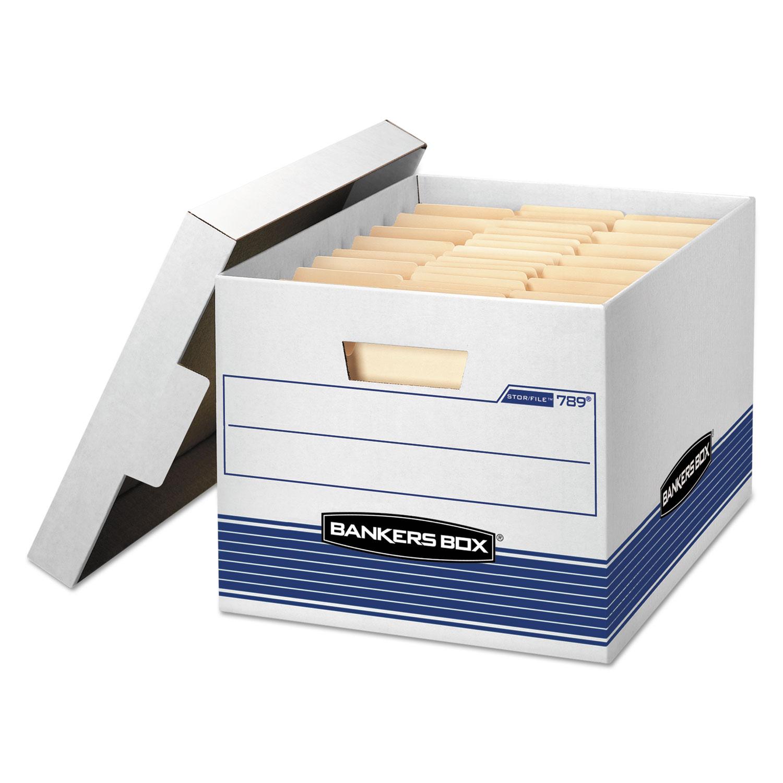 "STOR/FILE Medium-Duty Letter/Legal Storage Boxes, Letter/Legal Files, 12.75"" x 16.5"" x 10.5"", White/Blue, 12/Carton"