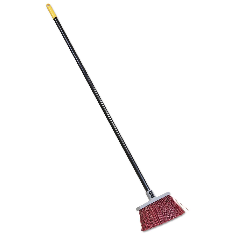 Bulldozer Landscapers Upright Broom, 48 Handle, 4 Bristles, Red/Gray