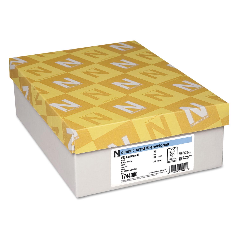 CLASSIC CREST #10 Envelope, Commercial Flap, Gummed Closure, 4.13 x 9.5, Solar White, 500/Box