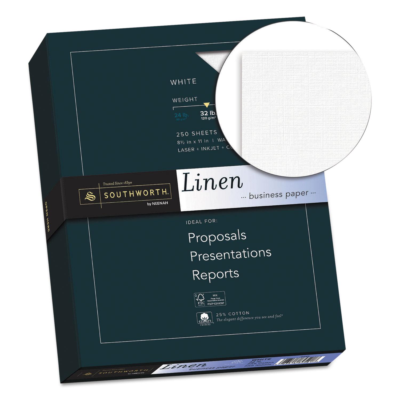 25% Cotton Linen Business Paper, 32lb, 8 1/2 x 11, White, 250 Sheets