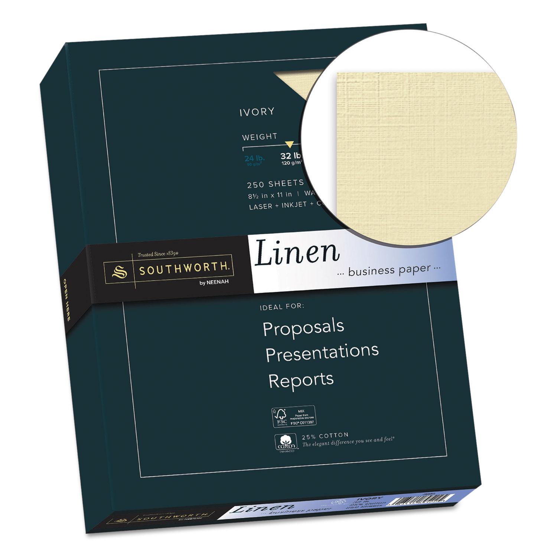 25  cotton linen business paper  32 lb  8 5 x 11  ivory