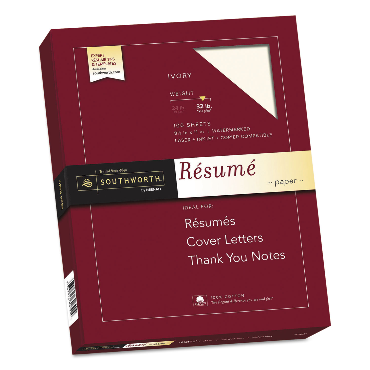 100  cotton resume paper  32 lb  8 5 x 11  ivory  100  pack