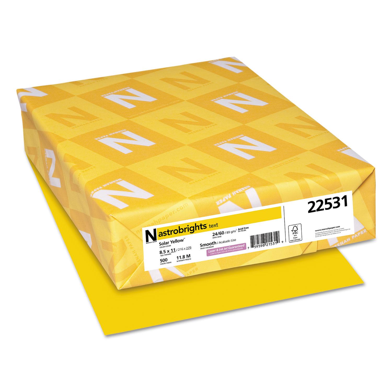 Color Paper, 24 lb, 8.5 x 11, Solar Yellow, 500/Ream