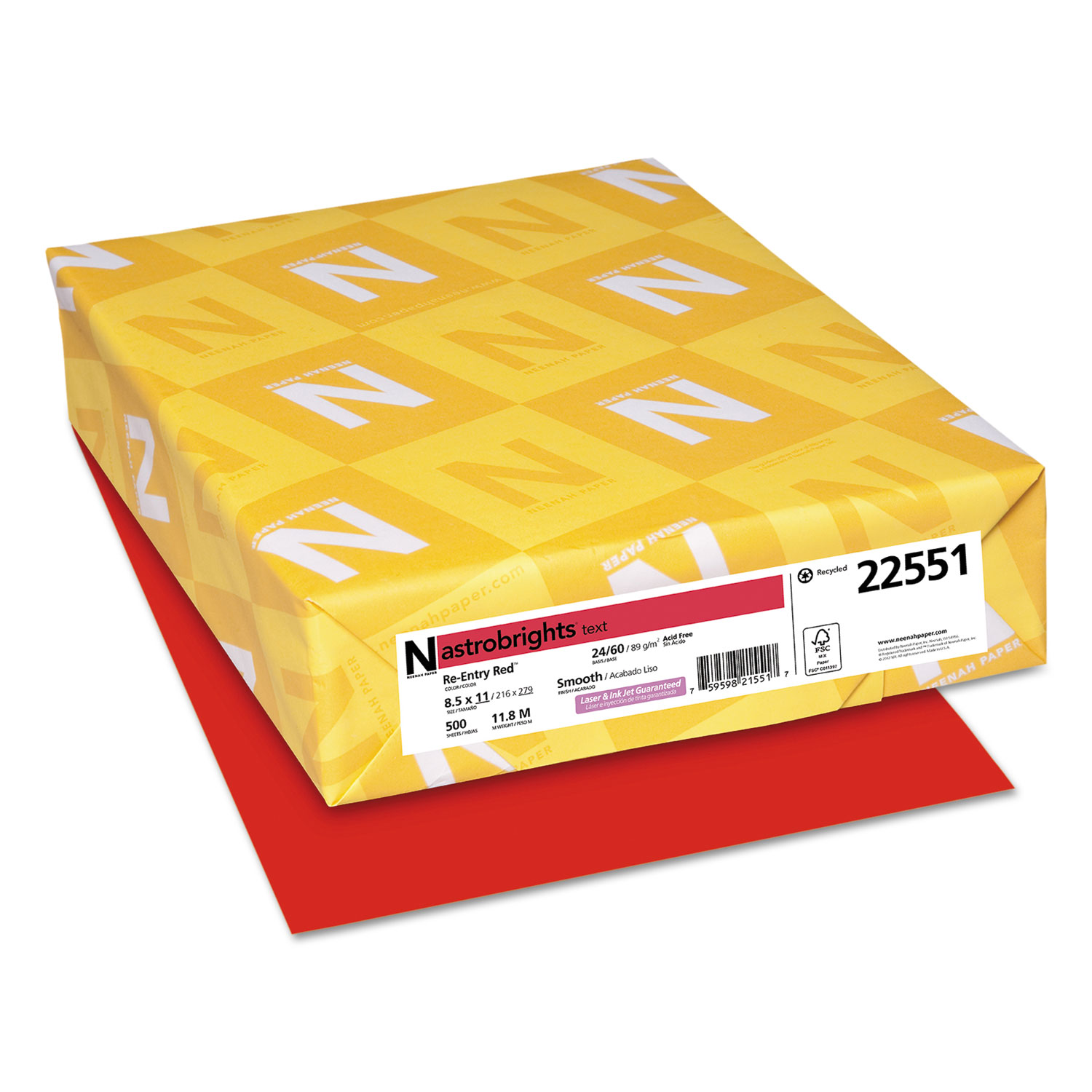 Color Paper, 24 lb, 8.5 x 11, Re-Entry Red, 500/Ream
