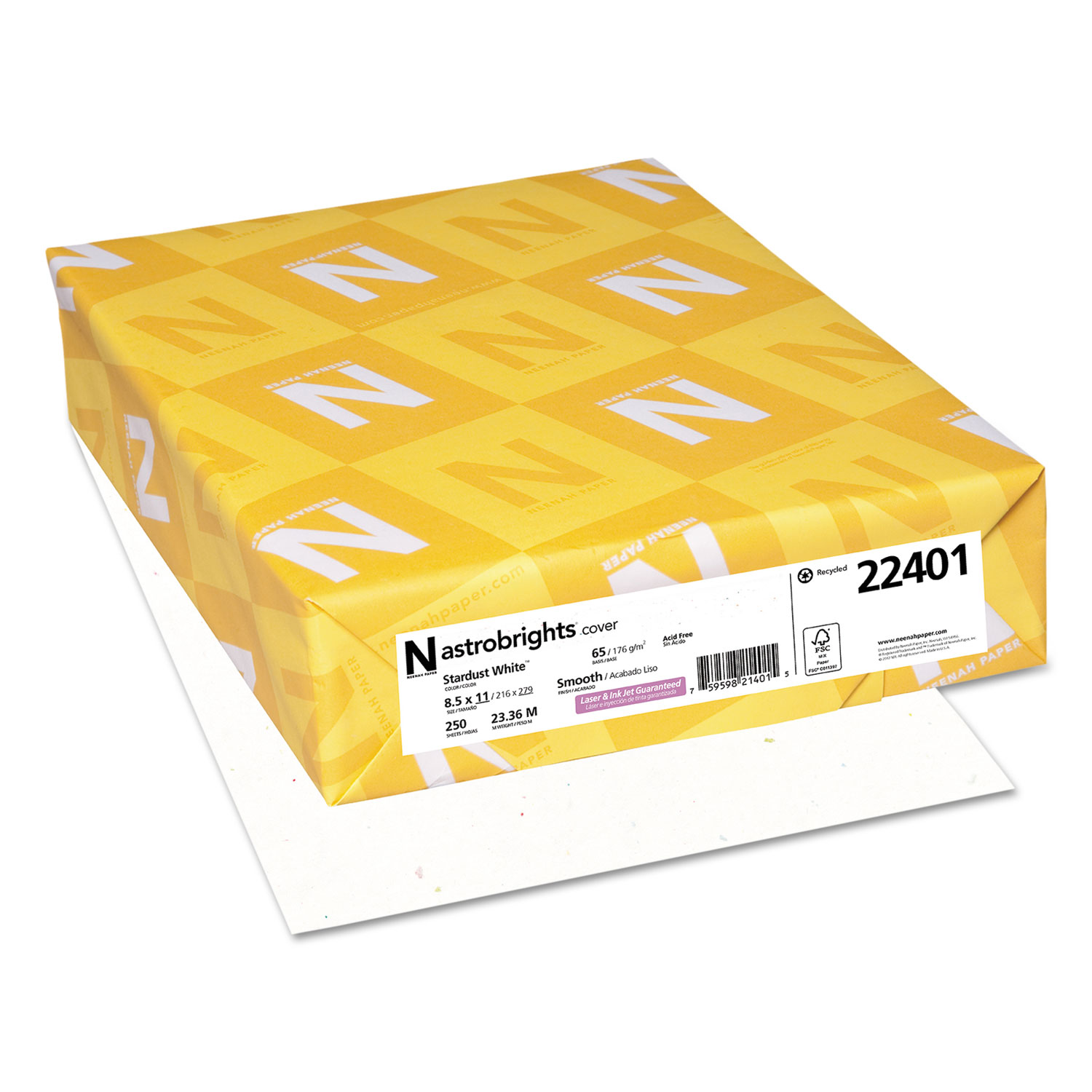 Color Cardstock, 65lb, 8.5 x 11, Stardust White, 250/Pack