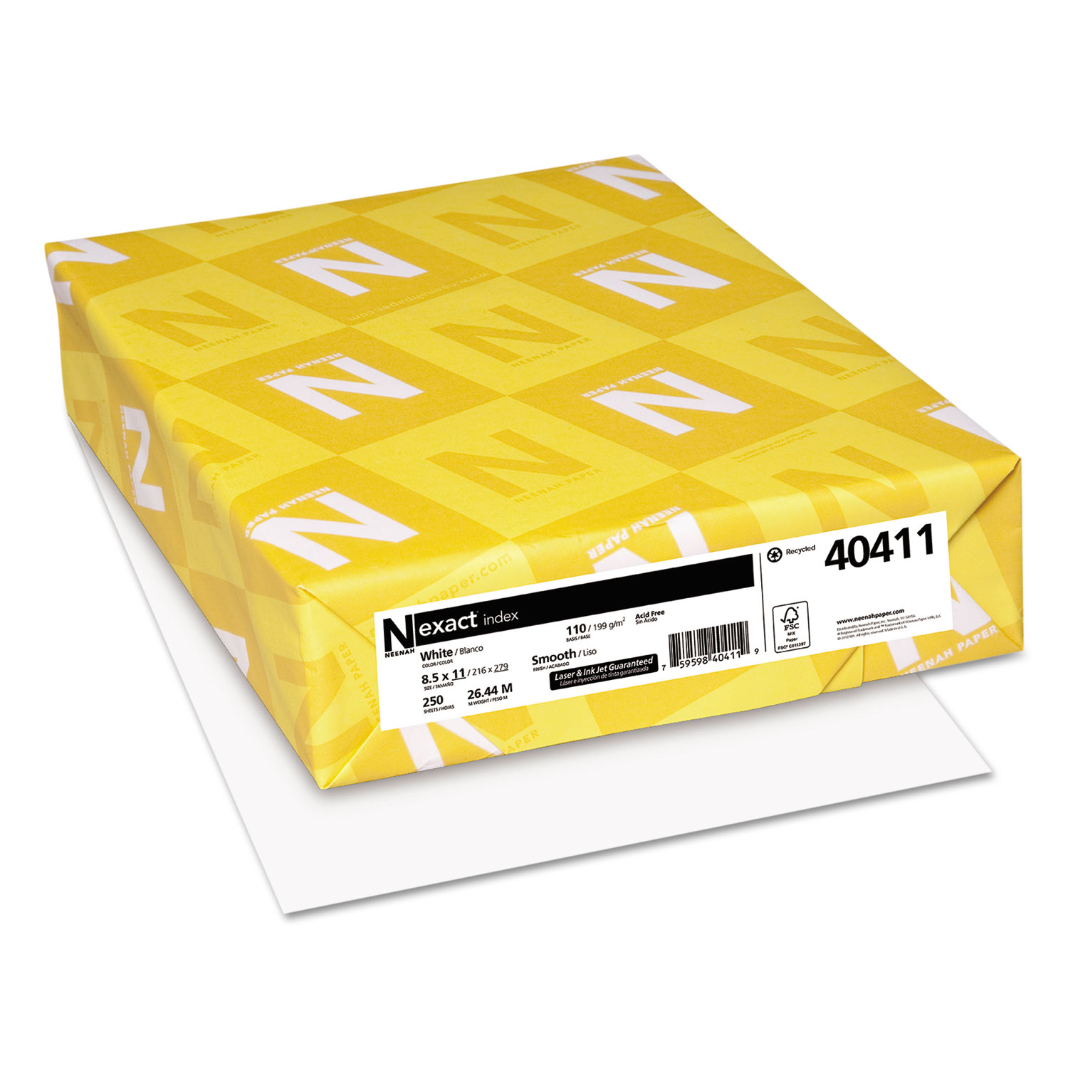 Exact Index Card Stock, 94 Bright, 110lb, 8.5 x 11, White, 250/Pack