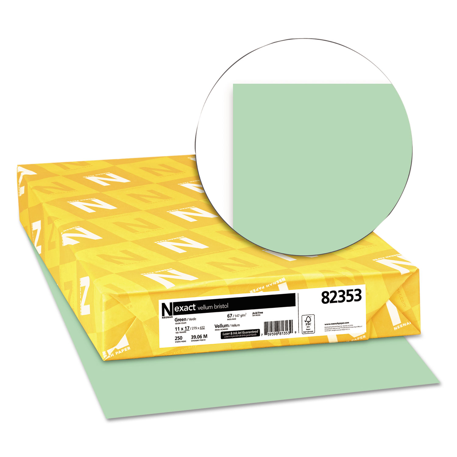 Exact Vellum Bristol Cover Stock, 67lb, 11 x 17, Green, 250 Sheets