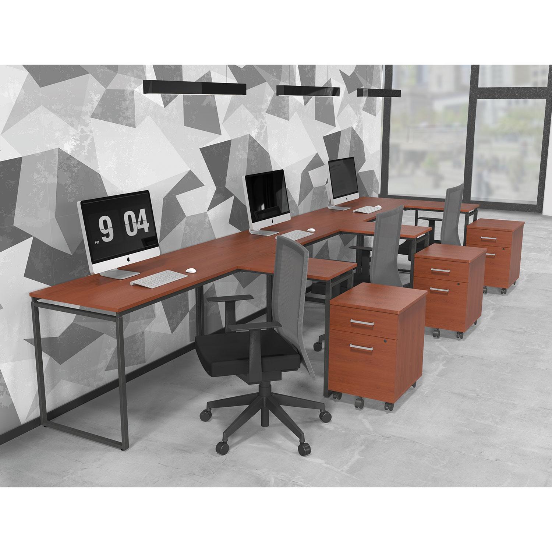 Seven Series L Shaped Desk 59 X 47 1 4 29 2 Cherry