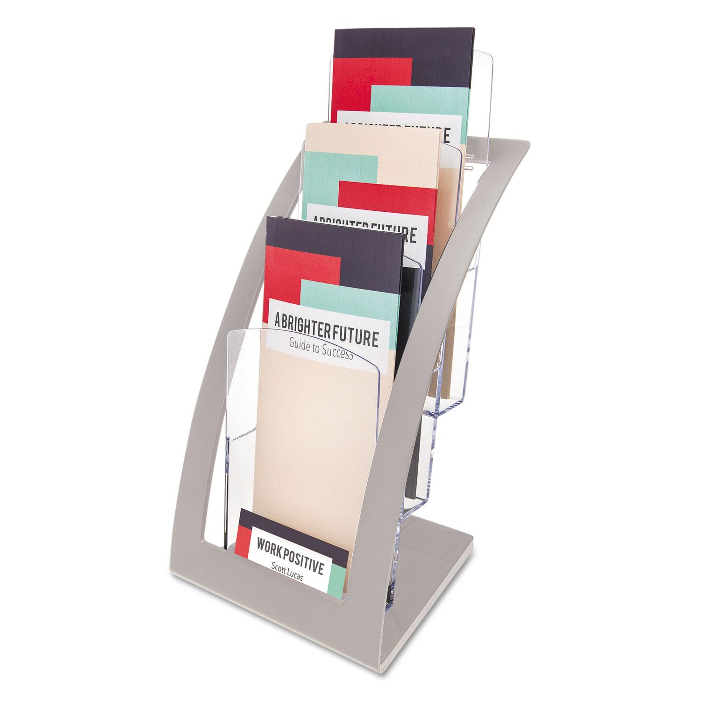 3-Tier Literature Holder, Leaflet Size, 6.75w x 6.94d x 13.31h, Silver