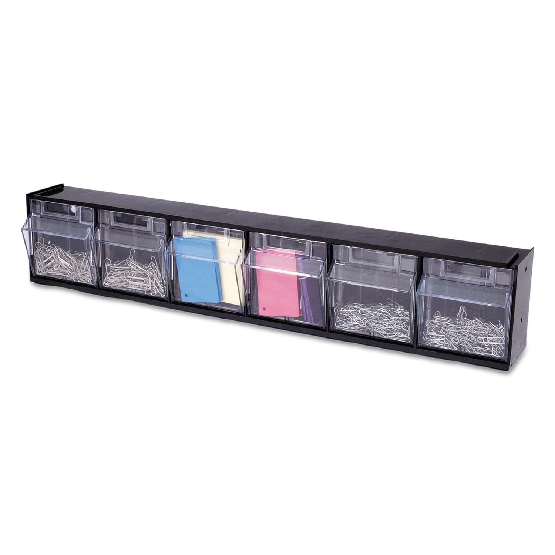 Tilt Bin Interlocking 6-Bin Organizer, 23 5/8 x 3 5/8 x 4 1/2, Black/Clear