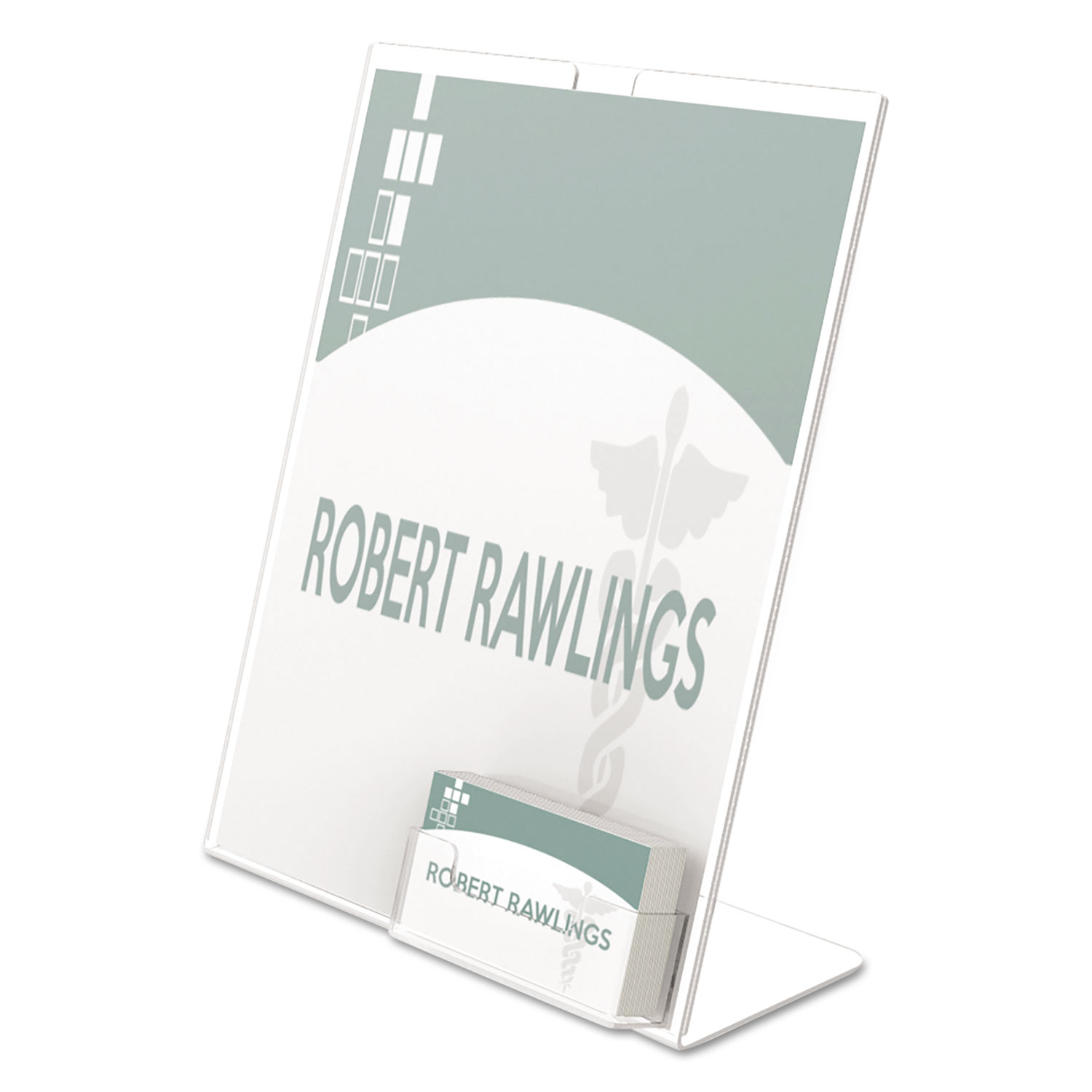 Superior Image Slanted Sign Holder with Business Card Holder, 8.5w x 4.5d x 11h, Clear