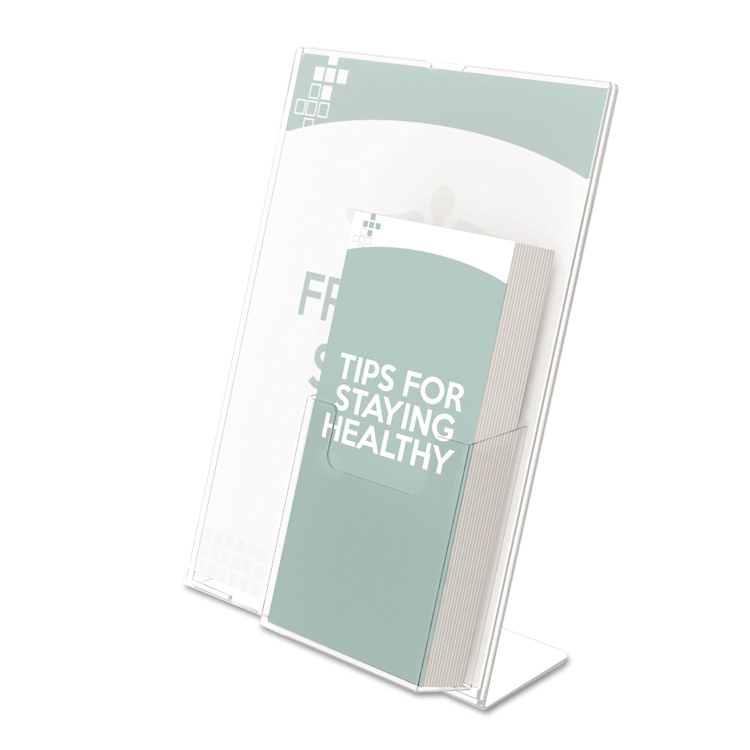Superior Image Slanted Sign Holder with Front Pocket, 9w x 4.5d x 10.75h, Clear