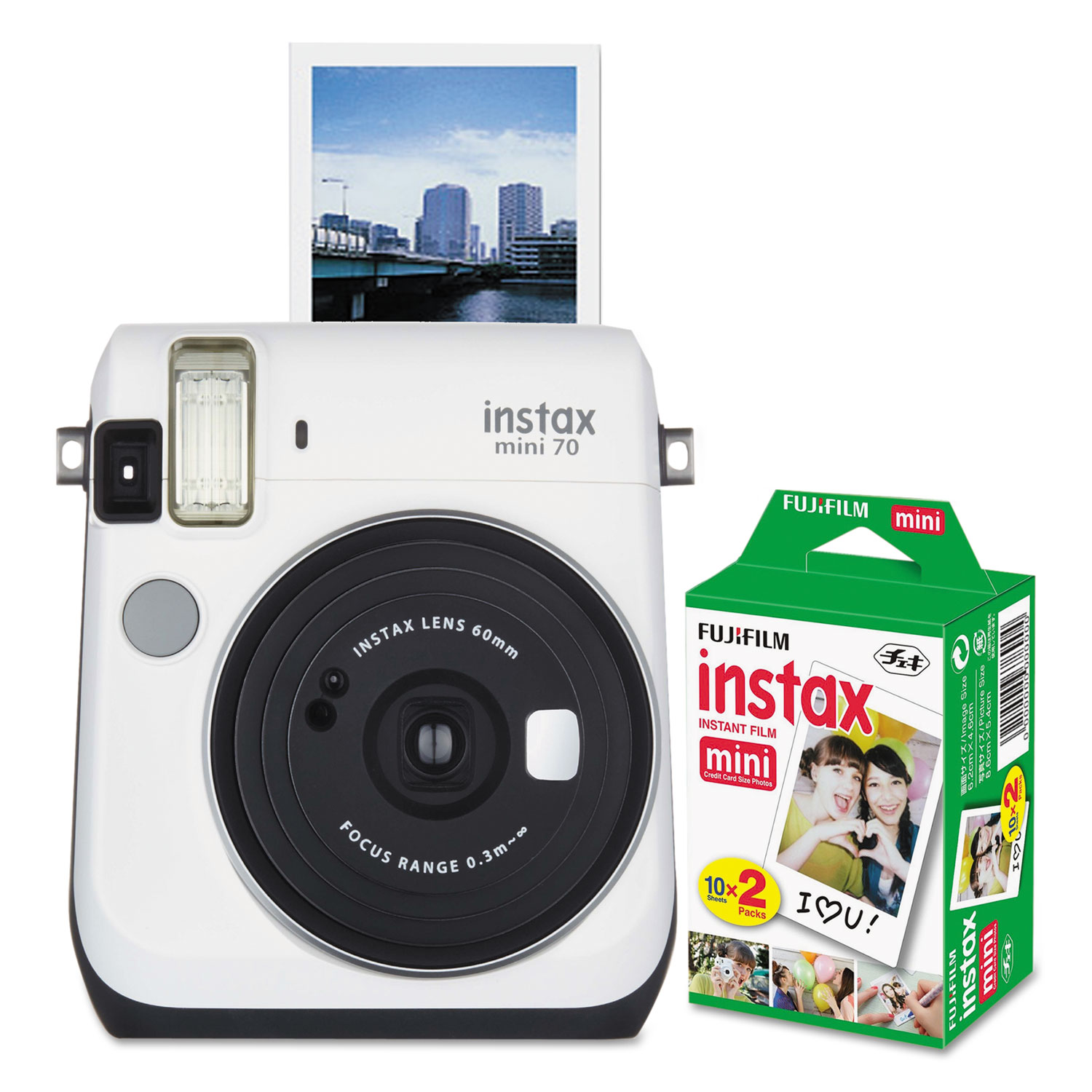 Instax Mini 70 Bundle, Auto Focus, White