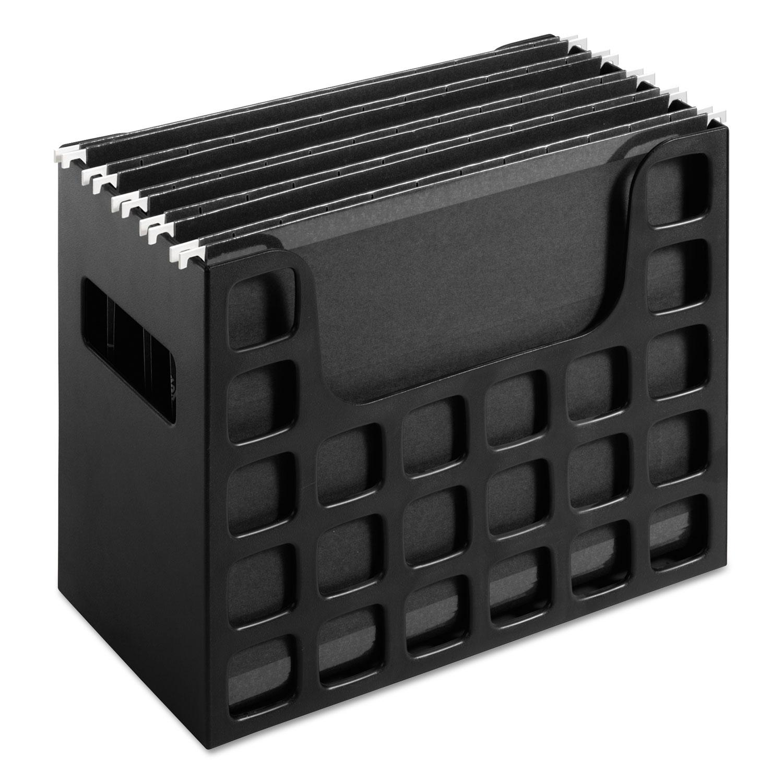 Desktop File w/Hanging Folders, Letter, Plastic, 12 1/4 x 6 x 9 1/2, Black