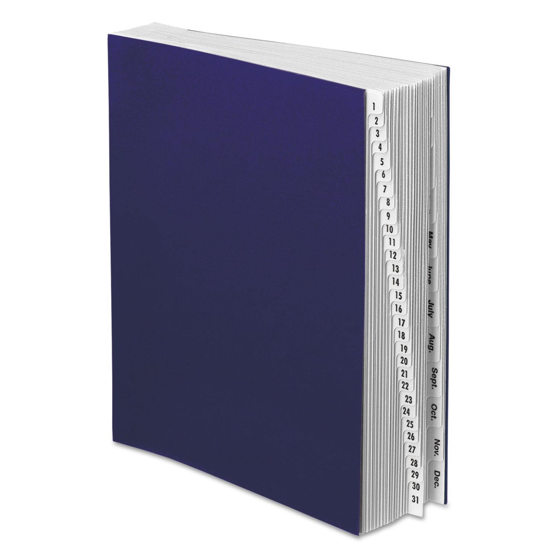 Expanding Desk File, 1-31/Jan-Dec, Letter, Acrylic-Coated Pressboard, Dark Blue