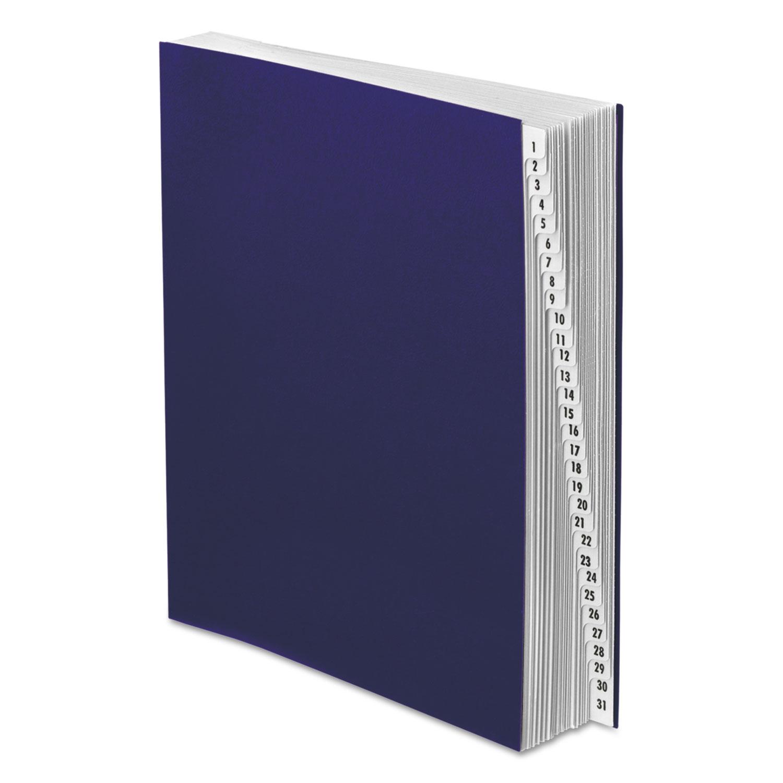 Expanding Desk File, 1-31, Letter, Acrylic-Coated Pressboard, Dark Blue