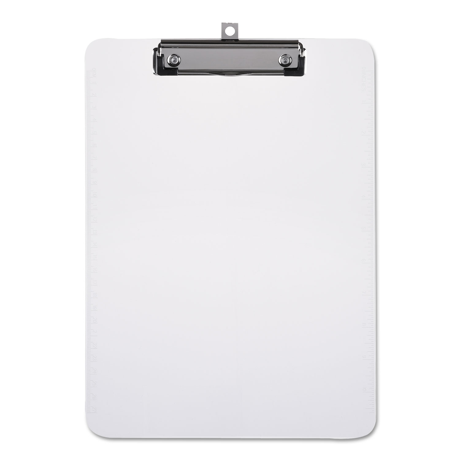 """Plastic Clipboard with Low Profile Clip 1/2"""" Capacity, Holds 8 1/2 x 11, Clear"""