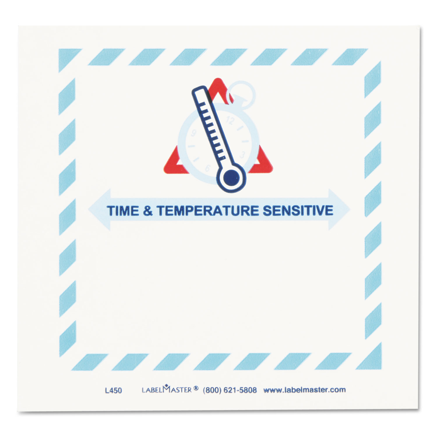Shipping and Handling Self-Adhesive Labels, TIME and TEMPERATURE SENSITIVE, 5.5 x 5, Blue/Gray/Red/White, 500/Roll