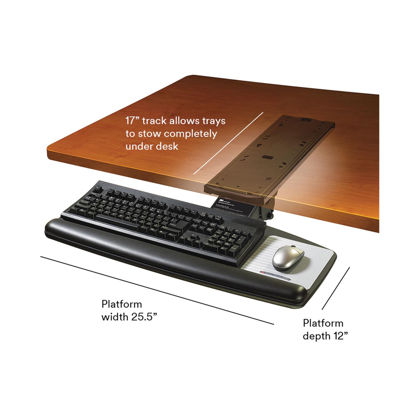 Tool Free Install Adjust Keyboard Tray With Standard Platform Black