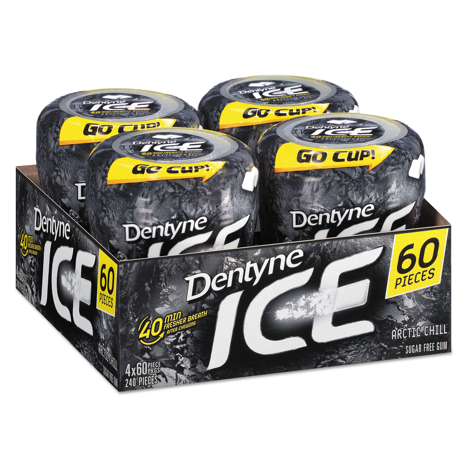 Sugarless Gum, Arctic Chill, 60 Pieces/Cup, 4 Cups/Pack