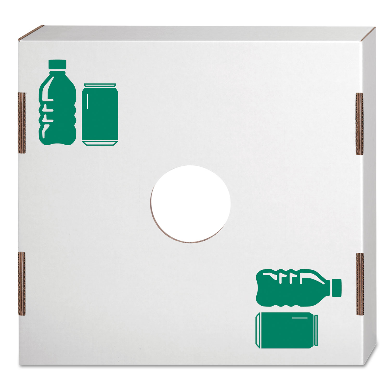 Waste and Recycling Bin Lid, Bottles and Cans, White/Green Print, 10/Carton