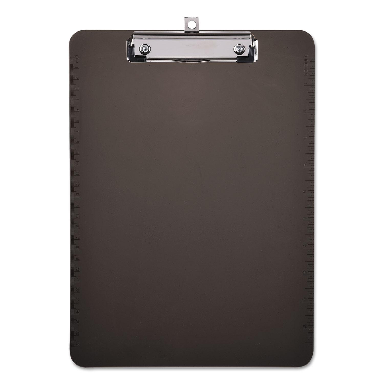 "Plastic Clipboard with Low Profile Clip, 1/2"" Cap, 8 1/2 x 11, Translucent Black"