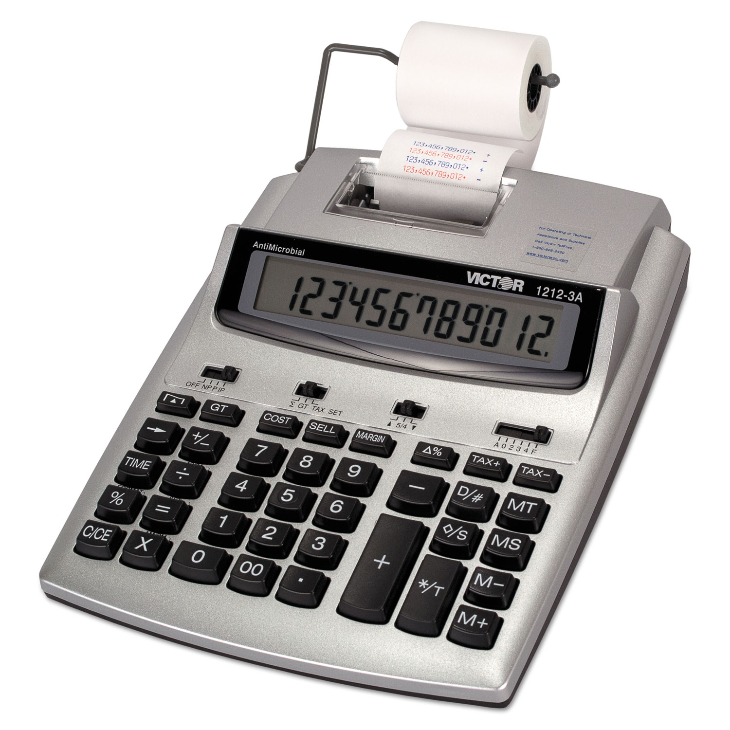 1212-3A Antimicrobial Printing Calculator, Blue/Red Print, 2 7 Lines/Sec
