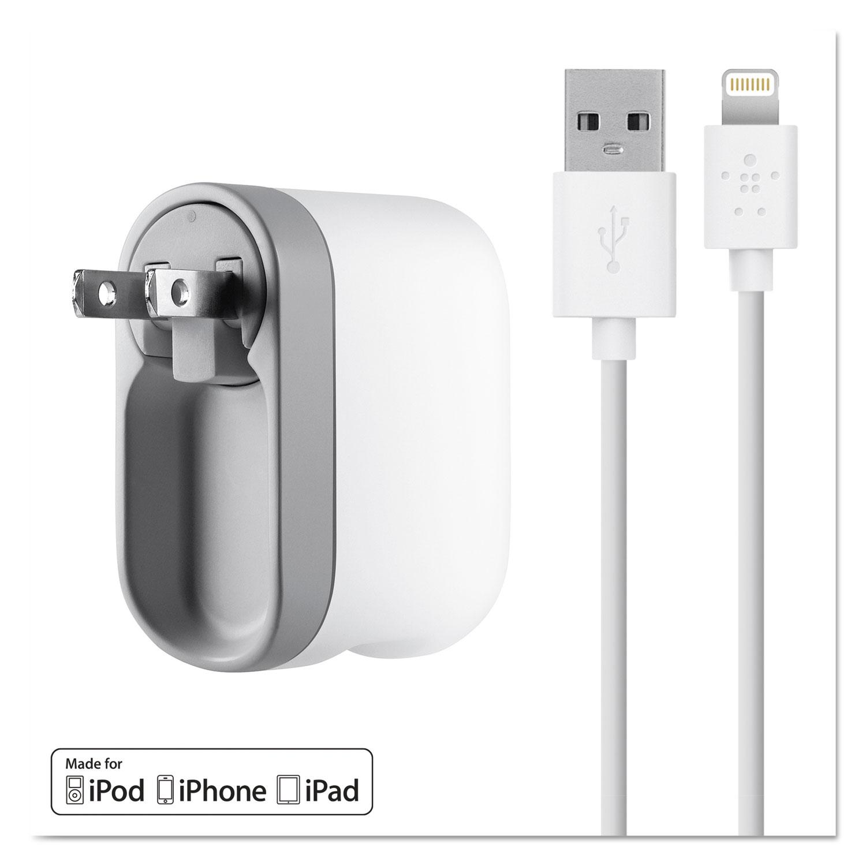 Swivel Charger, 2.1 Amp Port, Detachable Lightning Cable, White