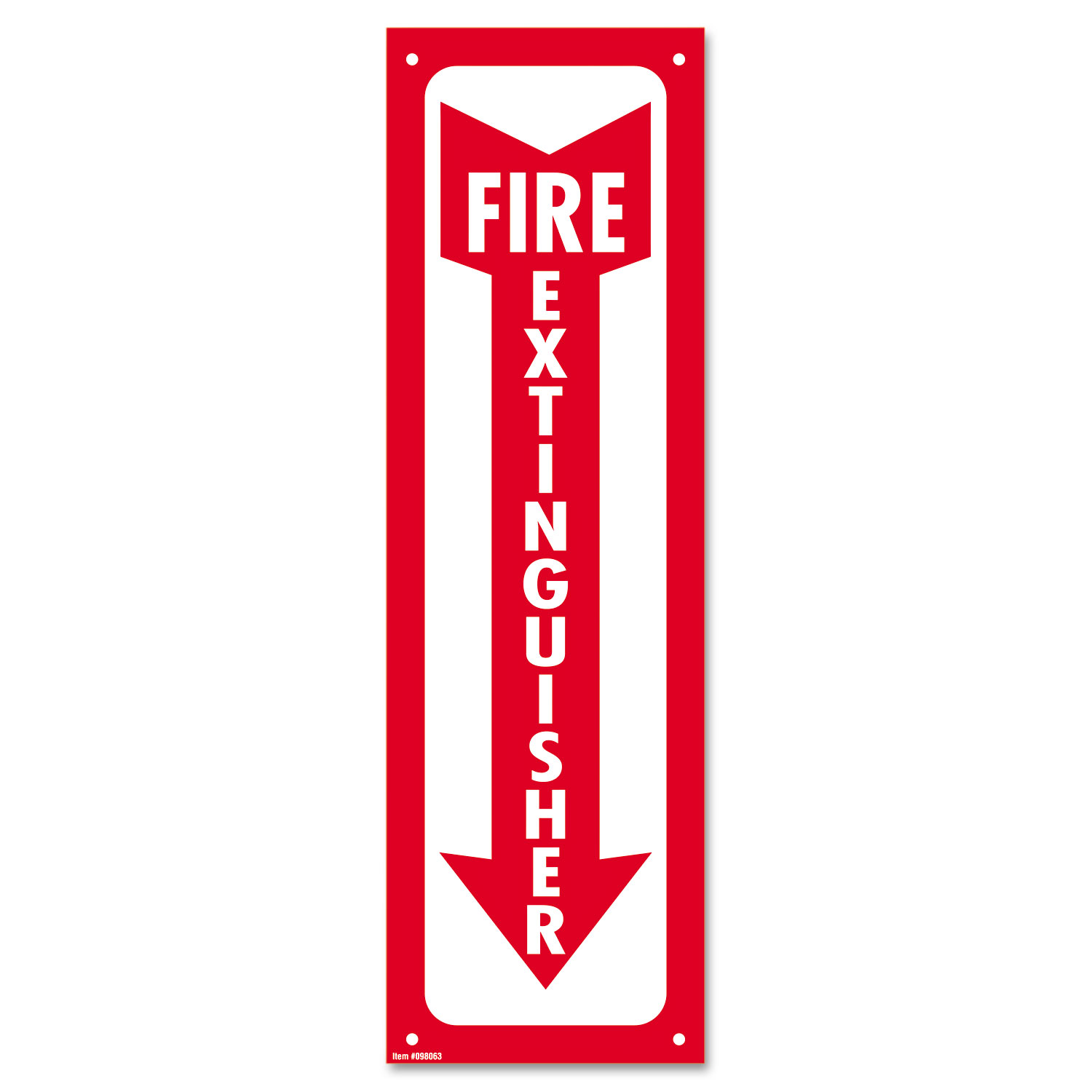 Glow-In-The-Dark Safety Sign, Fire Extinguisher, 4 x 13, Red