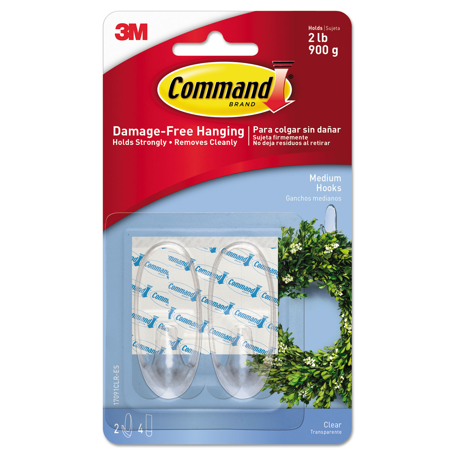 Clear Hooks & Strips, Plastic, Medium, 2 Hooks & 4 Strips/Pack