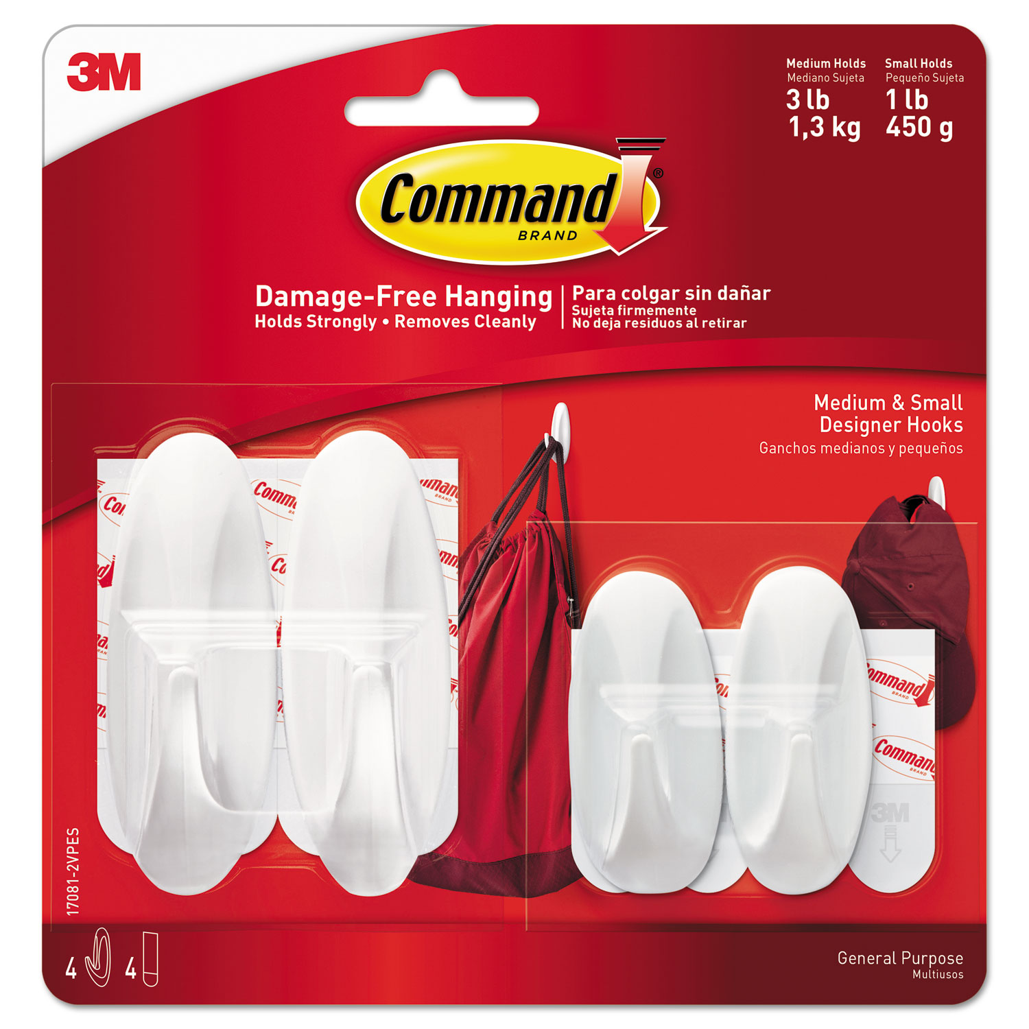 General Purpose Designer Hooks, Small/Medium, 3 lb Cap, White, 4 Hooks and 4 Strips/Pack