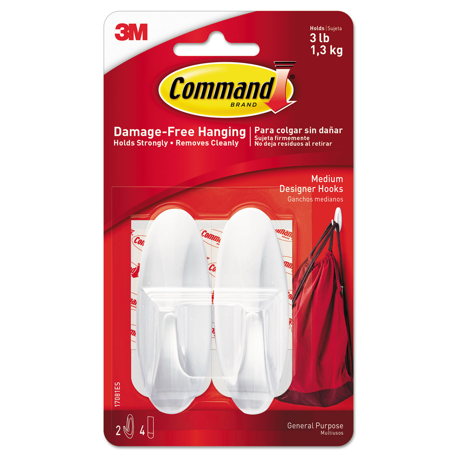 General Purpose Designer Hooks, Medium, 3 lb Cap, White, 2 Hooks and 4 Strips/Pack