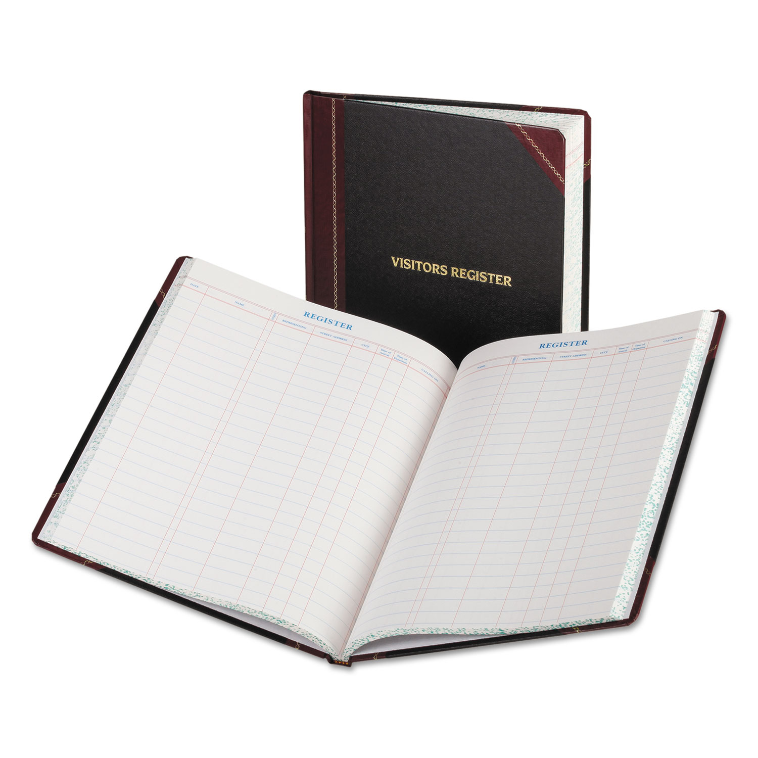 Visitor Register Book, Black/Red Hardcover, 150 Pages, 10 7/8 x 14 1/8