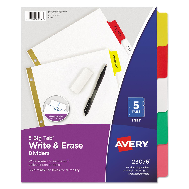 Write & Erase Big Tab Paper Dividers, 5-Tab, Multicolor, Letter
