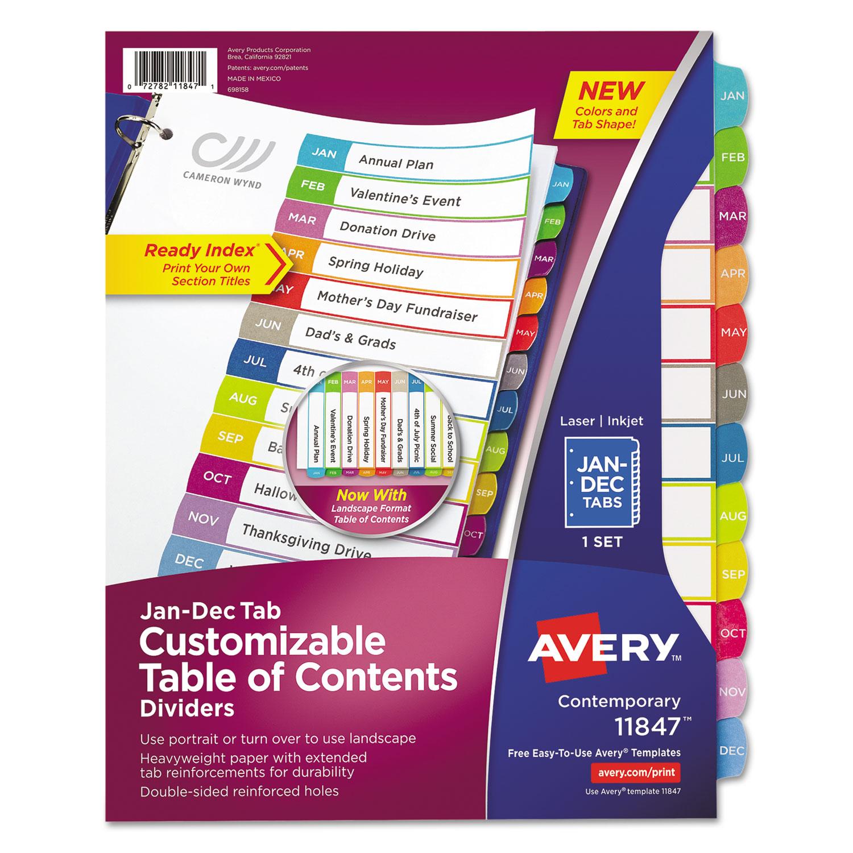 Customizable TOC Ready Index Multicolor Dividers, Jan-Dec, Letter
