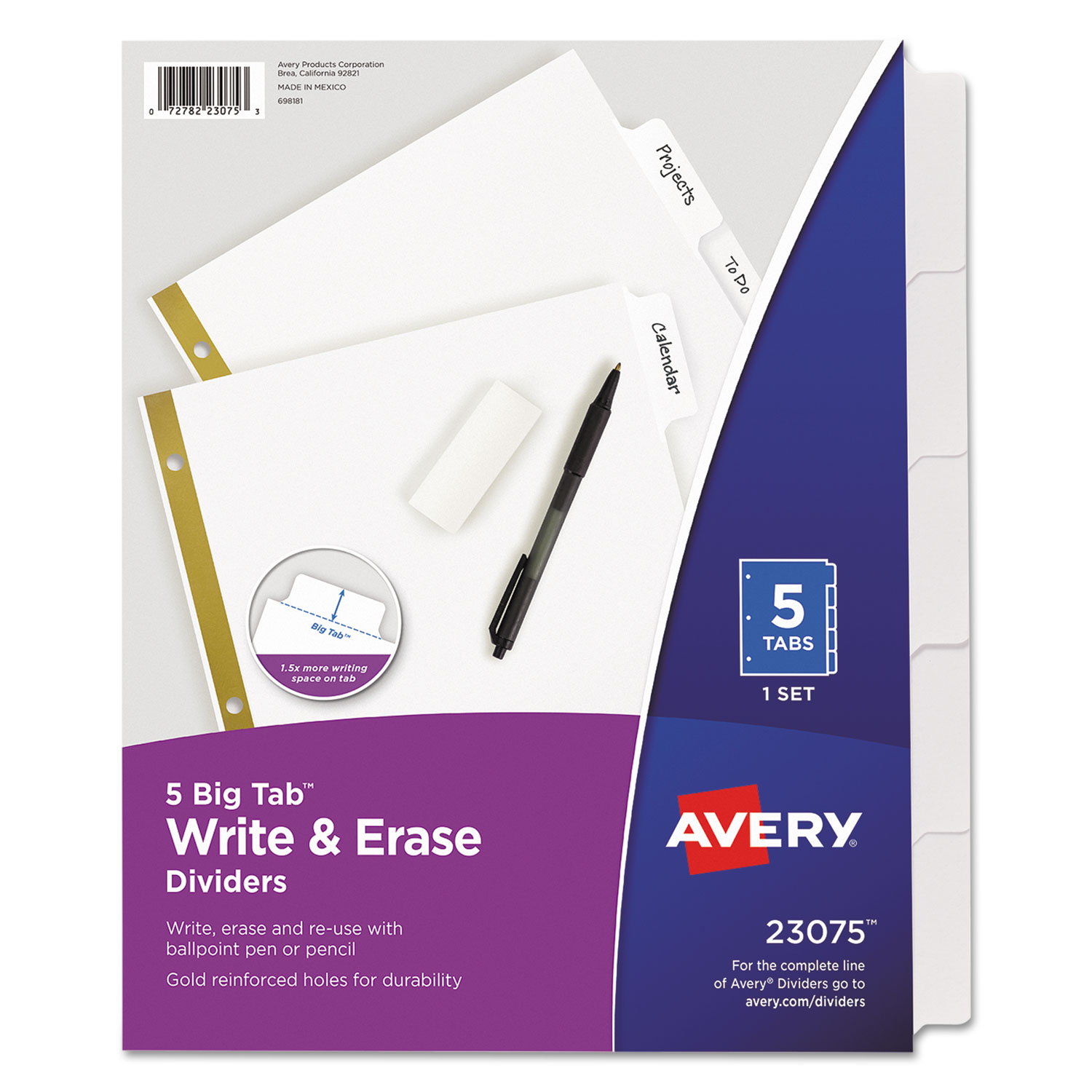 Write & Erase Big Tab Paper Dividers, 5-Tab, White, Letter